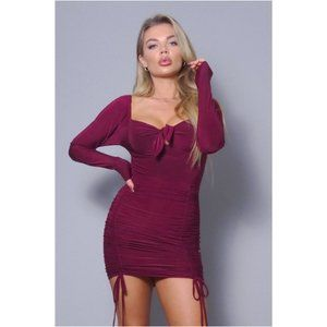 Front Tie Ruched Burgundy Mini Dress